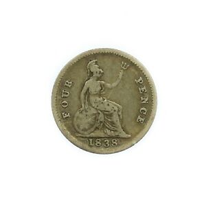 1838 Victoria Silver Four Pence Groat Coin #6