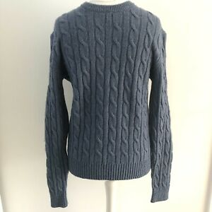 Men's Gap Blue Lambswool Blend Long Sleeved Jumper Size M Cable Knit