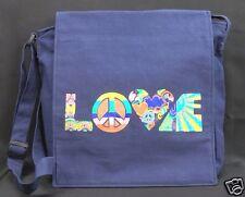 Peace Love Purse Shoulder Bag Crossbody Blue Canvas Messenger Bag Hippie Boho