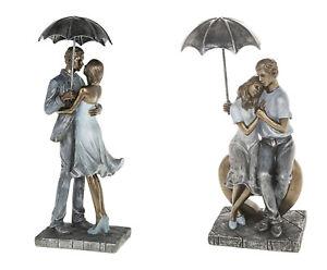 Rainy Day Romance Resin Figurines-Couple Sitting, Couple Standing with Umbrella