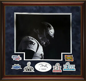 Tom Brady Signed Autographed Cut Custom Framed to 20x24 w/ Patches Patriots JSA