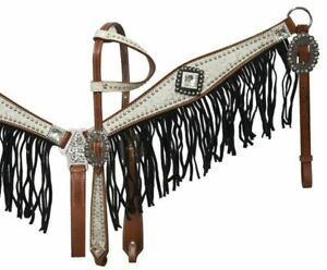 Showman ® Medium leather headstall and breast collar set