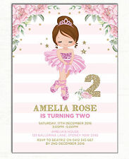 Ballerina Invitation Ballet Dancer Birthday Party Invite Pink Gold Tutu Floral