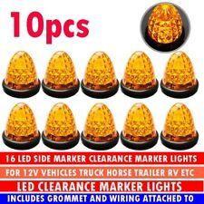10X LED Amber Beehive Side Marker Light Grommet Cab/Sleeper Lamp Trailer AU