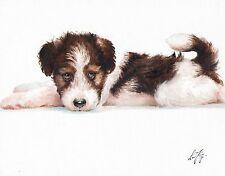 Original Oil Art Wire Fox Terrier Portrait Painting Dog Puppy Artist Signed