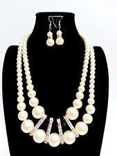 Elegant Ivory Color Pearls Black Crystals Bridal Drape Necklace Earrings Set