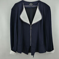 Dennis Basso Zip Front Ponte Knit Jacket w/ Contrast Lapel Navy/White XL A288737