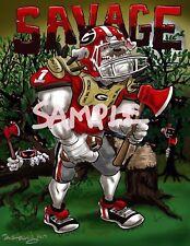 "University Of Georgia Bulldogs Football Dave Helwig ""Savage"" Print Art UGA"