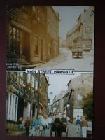 POSTCARD YORKSHIRE HAWORTH MAIN STREET  - THEN & NOW 1910 & 1990