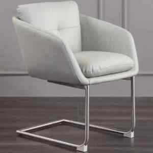 Grey Faux Leather Computer Desk Office Chair Upholstered Chair Stainless Steel