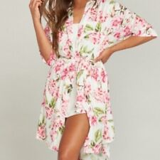 Show Me Your Mumu Womens Robe Size OS Brie White/Pink Floral (Missing Belt)