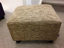 Footstool / Pouffe / Small Stool / Brown Herringbone Chenille British Made