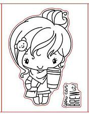 3Types Coffee Grils Transparent Clear Silicone Stamp/Seal DIY Scrapbooking 3x4in