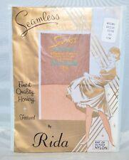 Vintage RIDA Seamless Micro Mesh Beige Nylon Pantyhose Stockings Size 8.5