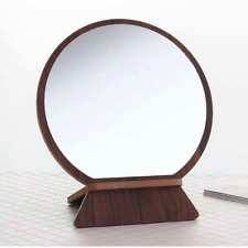 Wooden Makeup Mirror Tabletop Vanity with Stand for Office Living Room Bathroom