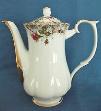 VINTAGE CHODZIEZ DITSY PINK RED ROSES GOLD TRIM LARGE CHINA COFFEE TEA POT