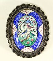 = Antique C. 1900 MINAKARI Mina Enamel on Silver Brooch Pin w. Birds Middle East