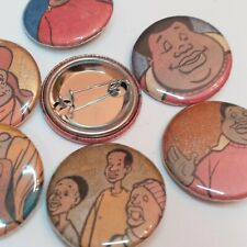 """Fat Albert pinback buttons 1.25"""" you choose sparkly metallic comic book upcycle"""
