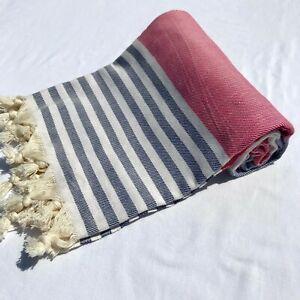 Authentic Turkish Peshtemal %100 Cotton grey/red