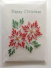 Handmade Cucito cartolina di natale stella di Natale in perline rosse e verdi