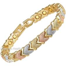LADIES ALLOY MAGNETIC HEALING BRACELET 3 TONE BANGLE - ARTHRITIS PAIN RELIEF 239