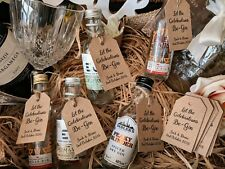 Vintage Wedding Favour Gin Tags for Miniature Bottles - Personalised (x21)