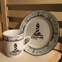 "Totally Today Coastal Lighthouse Salad Plate and 3.5 "" Mug Set (s) Nautical"