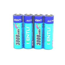 4 PILES ACCUS RECHARGEABLE AA 3000Mwh LITHIUM Li-ion 1.5V KENTLI R6 R06 LR06 LR6