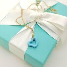 Tiffany & Co. Elsa Peretti Turquoise Carved Small Open Heart Pendant & 18k Chain