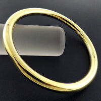 BANGLE BRACELET GENUINE REAL 18K YELLOW G/F GOLD SOLID HEAVY CUFF GOLF DESIGN