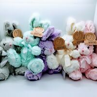 "Lot of 5 Animal Adventure Daisy Bunny 8"" Plush - Purple White Pink Gray and Mint"