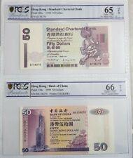 1998 Hong Kong Standard Chartered Bank $50 PCGS65 & 66 OPQ Same No. @P-286c