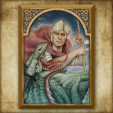 St. Saint George Wood Icon/Plaque & Holy Card GIFT SET Catholic Art