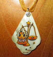 Pendant ZODIAC LIBRA BABY Russian Genuine hand painted SHELL Horoscope Anime Art