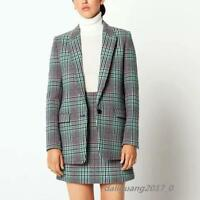 Sandro Women Designer Inspired Wool Multi-Color Checked Tweed Jacket Coat Blazer