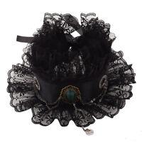 Vintage Elizabethan Cosplay Gem Gear Chain Ruffled Collar Victorian Neck Ruff