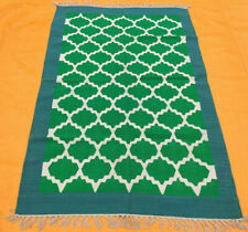 Hand Woven Green Cotton Rug Turkish Kilim Dhurrie Afghan Oriental Area Rug 4'X6'