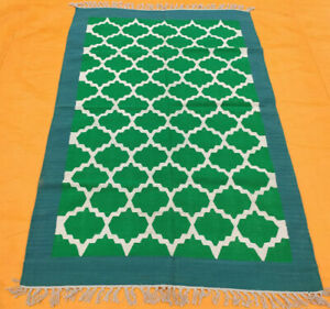 Hand Woven Green Cotton Rug Turkish Kilim Dhurrie Afghan Oriental Area Rug 4'X6'