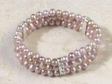 3 Rows Genuine Purple Freshwater Pearl 18KWGP Crystal Elastic Bangle Bracelet