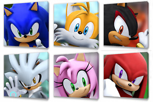 Sonic characters Kids canvas wall art plaque pictures set......2 sets you choose