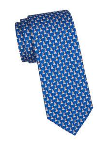 NEW Authentic SALVATORE FERRAGAMO Mens Dog Blue Silk Tie