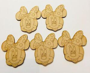 Wooden Mdf Minnie Mouse Head X 5 , Size 80mm x 70mm Craft Blank Laser Cut