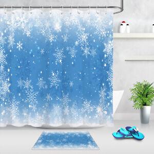 Blue Background Christmas Winter Snowflakes Shower Curtain Set Bathroom Decor