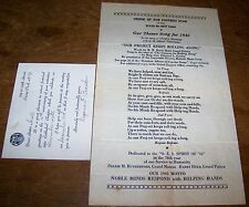 1945 VINTAGE ORDER EASTERN STAR OES THEME SONG SHEET INVITE OZONE PARK NY