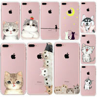 Cute Cat Thin Soft Rubber Clear Phone Case Cover For iPhone 5 6S 7 8 Plus Xs Max