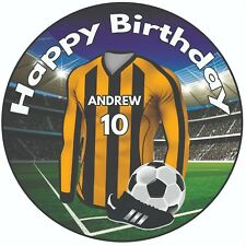 "Personalised Football Shirt 8"" Round Icing Cake Topper Burton Albion Colours"