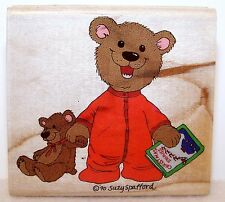 NEW 1991 STAMPEDE Wood Rubber Stamp BEDTIME BEAR 254-E Suzy Stafford SUZY'S ZOO