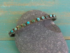 Old Vintage Native American Silver Snake Eye Turquoise Row Cuff Bracelet