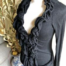 moth anthropologie ruffled front button cardigan black cotton/cashmere small