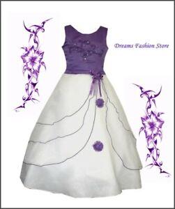 Blumenmädchenkleid ~ Festkleid ~ Selina ~ in lila-weiß ~ mit Rückenschnürung